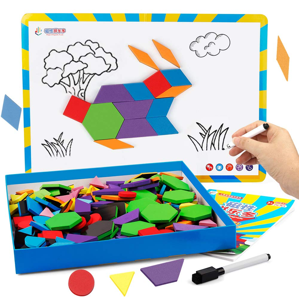 Vanmor Magnetic Pattern Blocks and Board with Drawing Pen, Foam Imagination Learning Puzzles Jigsaw Tangram Geometric Shapes Educational Toy for Kids Toddlers ( 216Pcs )