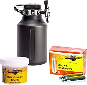 GrowlerWerks uKeg Go Tungsten - 10 CO2 Chargers - 25 Cleaning Tablets