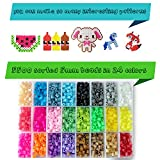 Fuse Beads Kit - Includes 24-cell 5mm Colored iron Beads(about 5500 beads), a Square and a Five-pointed Star Plate, 5 Lroning Paper,2 Tweezers and 5 Other Small Accessories Beads for Kids