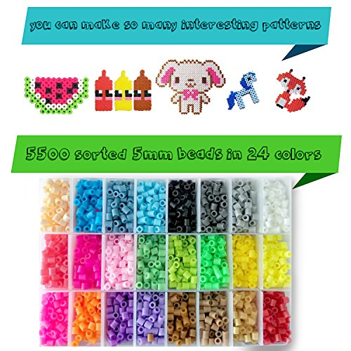 Fuse Beads Kit - Includes 24-cell 5mm Colored iron Beads(about 5500 beads), a Square and a Five-pointed Star Plate, 5 Lroning Paper,2 Tweezers and 5 Other Small Accessories Beads for Kids by HUATK