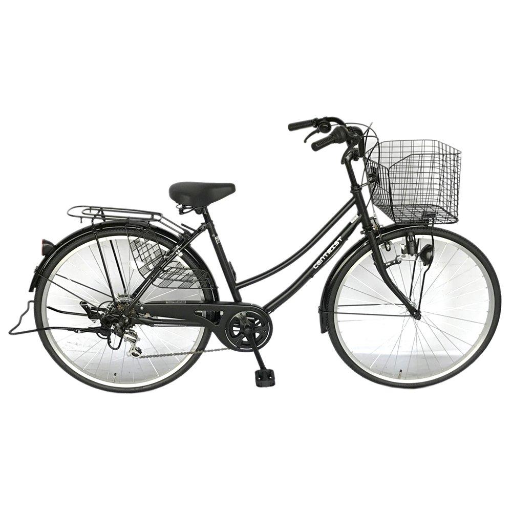 ママチャリ SGマーク 自転車 6段変速ギア 26インチ centrist セントリスト ワイヤーかご ギア付き サントラスト 軽快車 ブラック B079WTH1BX
