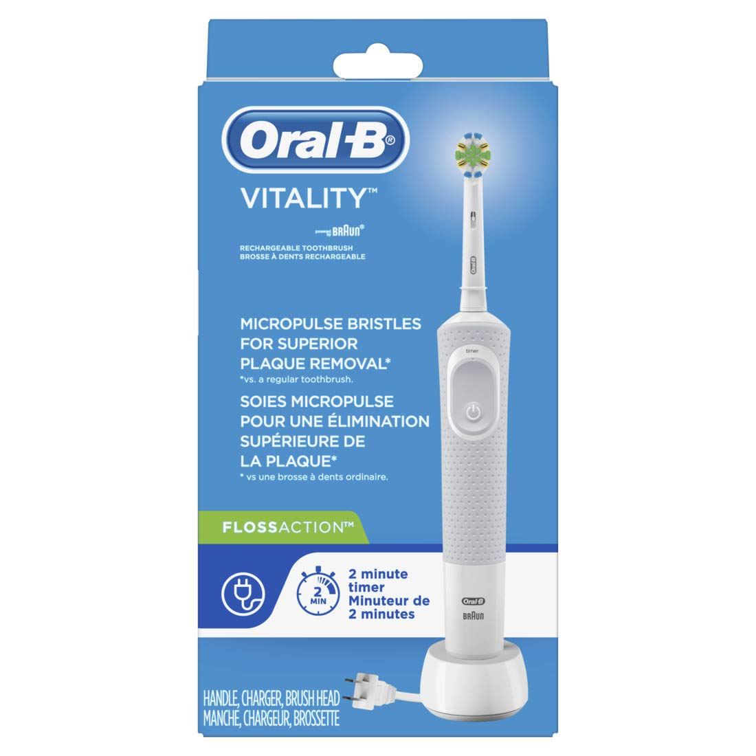 Oral-B Vitality FlossAction Rechargeable Battery Electric Toothbrush with Automatic Timer, Powered by Braun (Product Design & Packaging May Vary)