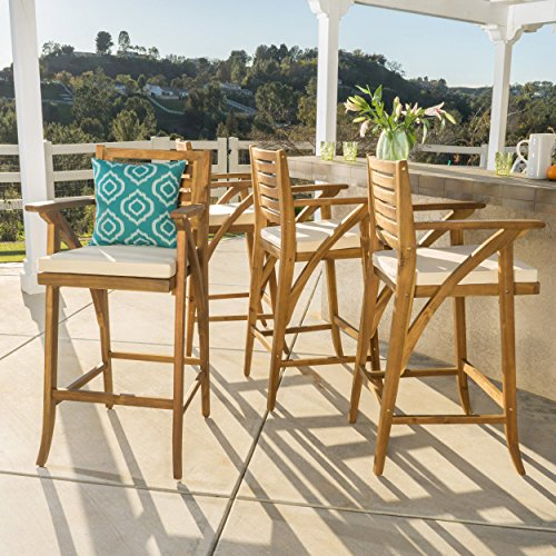 Christopher Knight Home 299836 Hermosa Barstool (Set of 4), Teak Finish