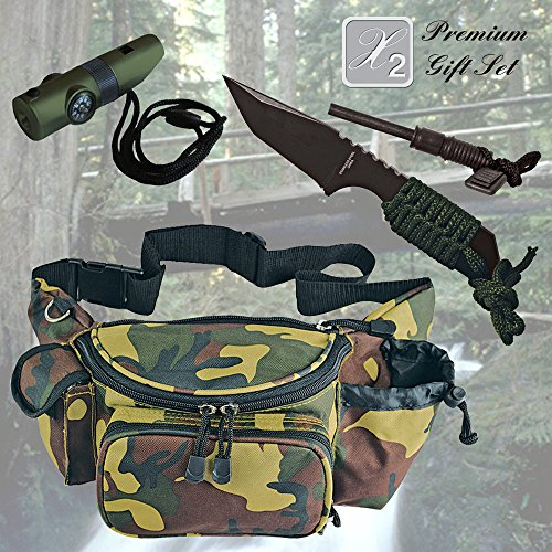 Father's Day Special! X2 Premium Gift Set for Holiday for Dad for Grandpa for Brother Best Gift Combination with Hunting Knife & Fire Starter, Camouflage Fanny Pack, Survival Whistle Gift Set