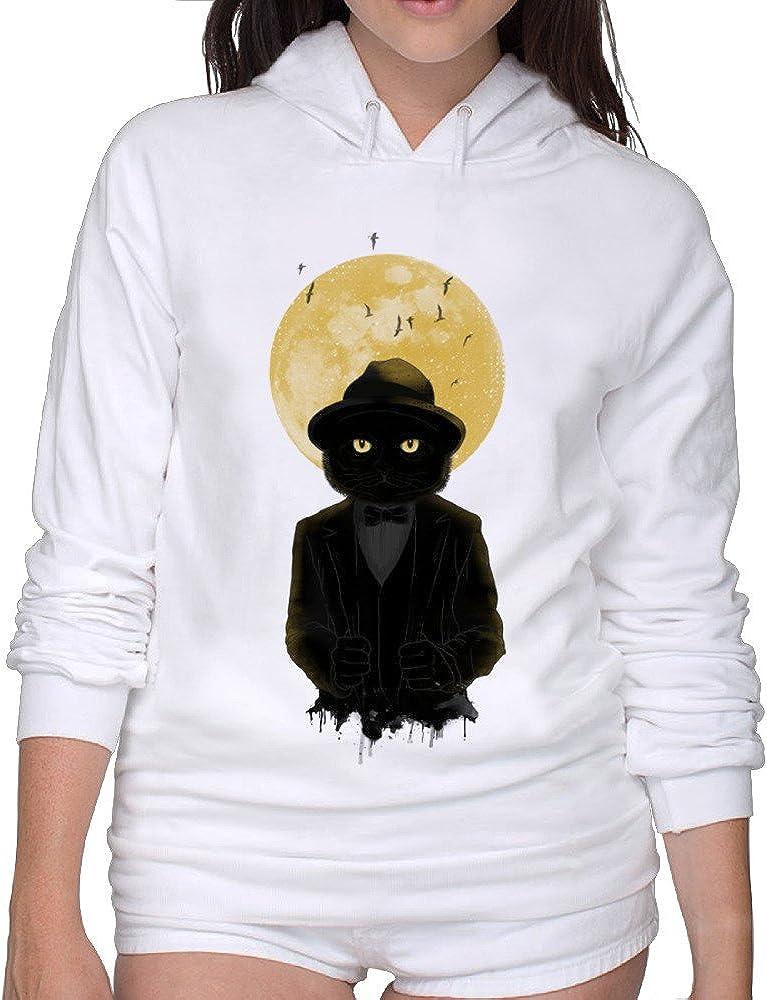 Cool Hooded Sweatshirt Full Moon Cat Woman Hoodies Lightweight