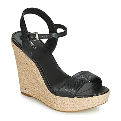 b96bdaa6f742 Michael Michael Kors Womens Jill Leather Wedge Sandals Black 9 Medium (B