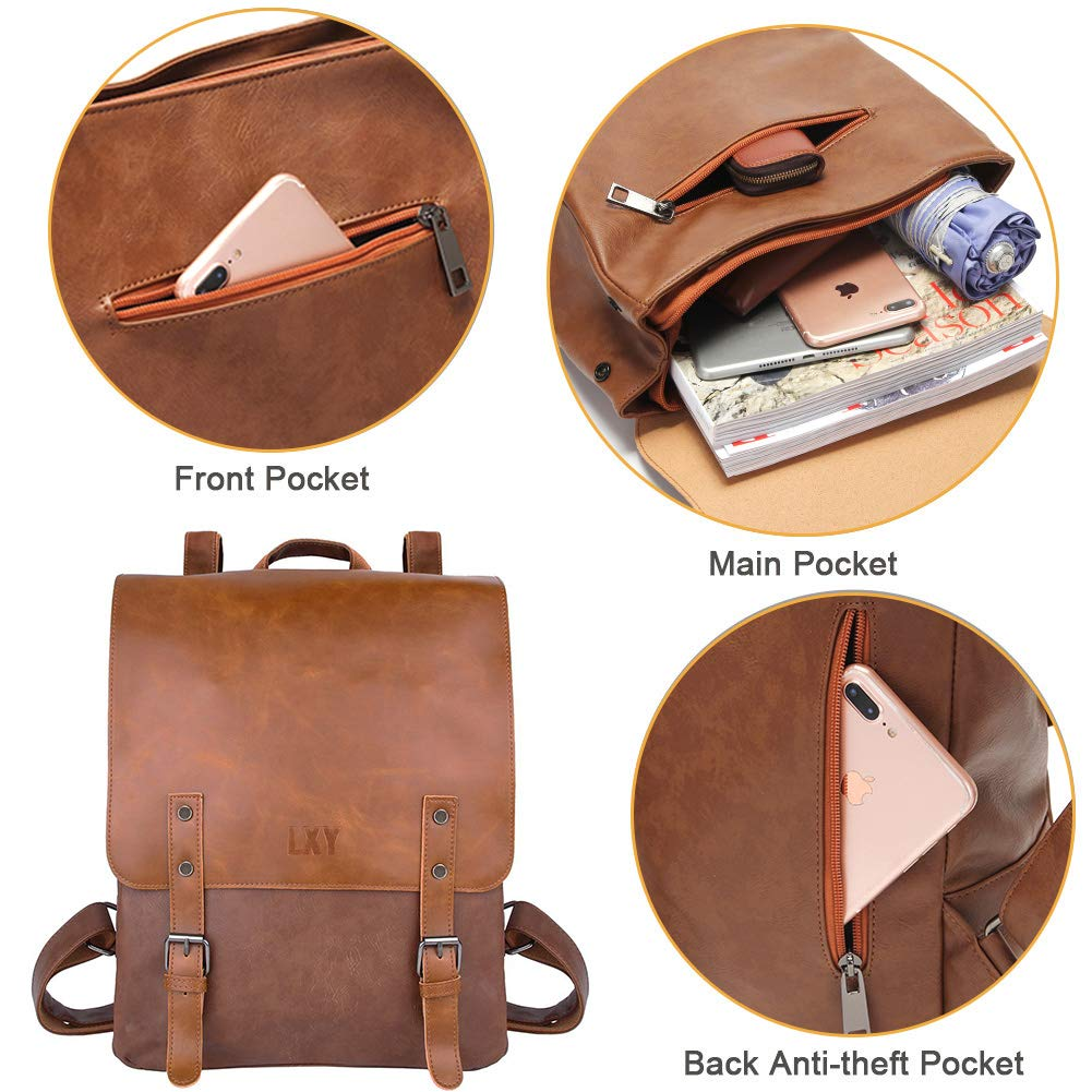 LXY Vegan Leather Backpack Vintage Laptop Bookbag for Women Men, Brown Faux Leather Backpack Purse College School Bookbag Weekend Travel Daypack by LXY (Image #2)