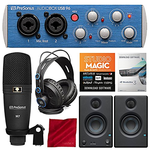 PreSonus AudioBox 96 Studio Plus Recording Kit with Studio One Software and PreSonus Eris E3.5 Multimedia Reference Monitors (Pair) Bundle ()