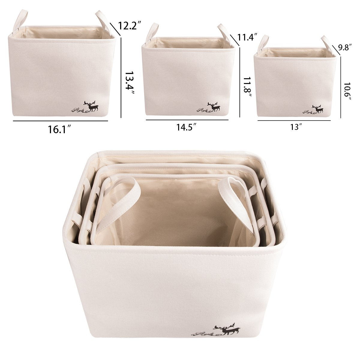 WISHPOOL Collapsible Storage Baskets Bins Foldable Toys Clothes Storage Cube Set 3 Pack with Handles For Home Laundry Closet