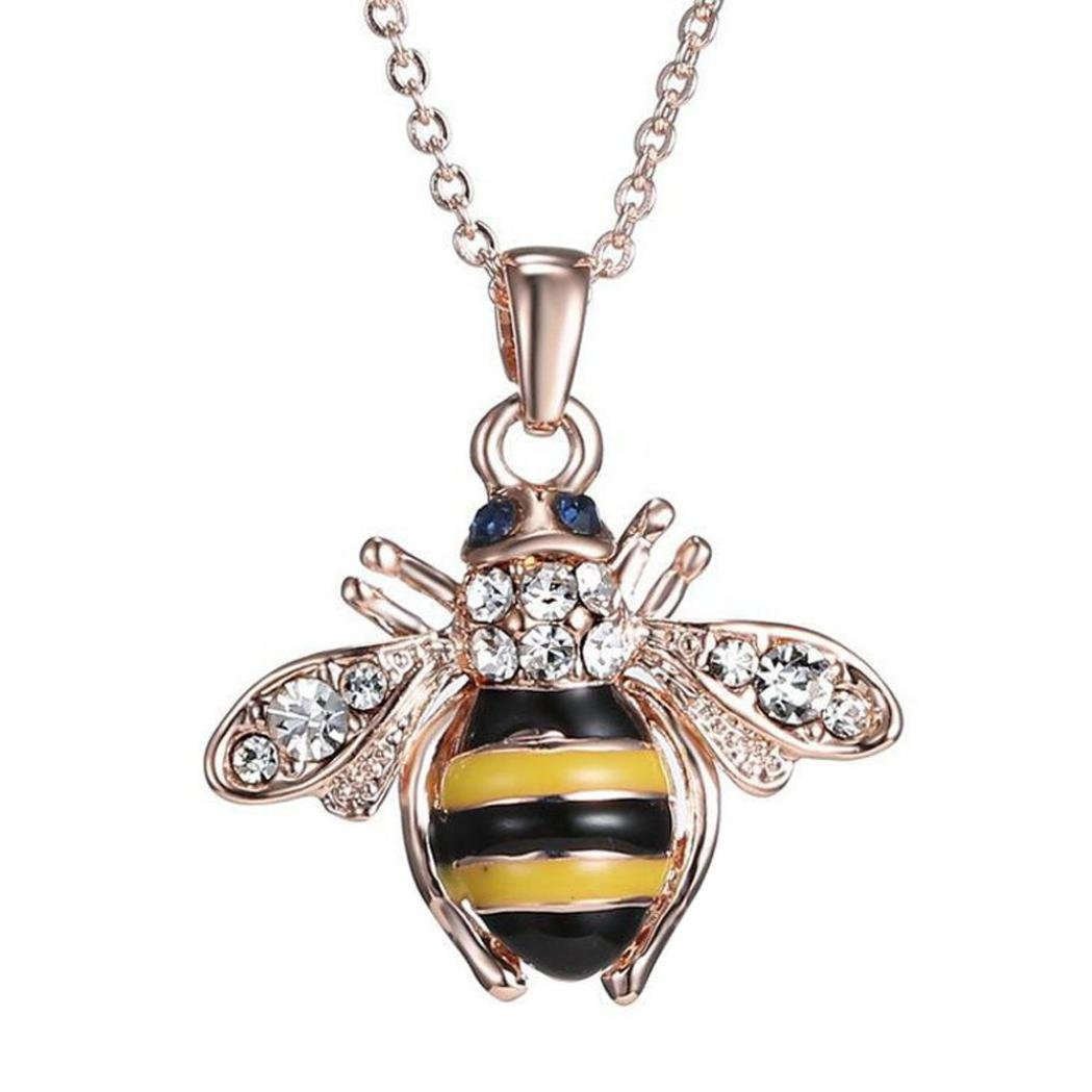 Nmch Bee Pendant Necklace,Fashion Ladies Rose Gold Elements Crystal Necklaces for Women