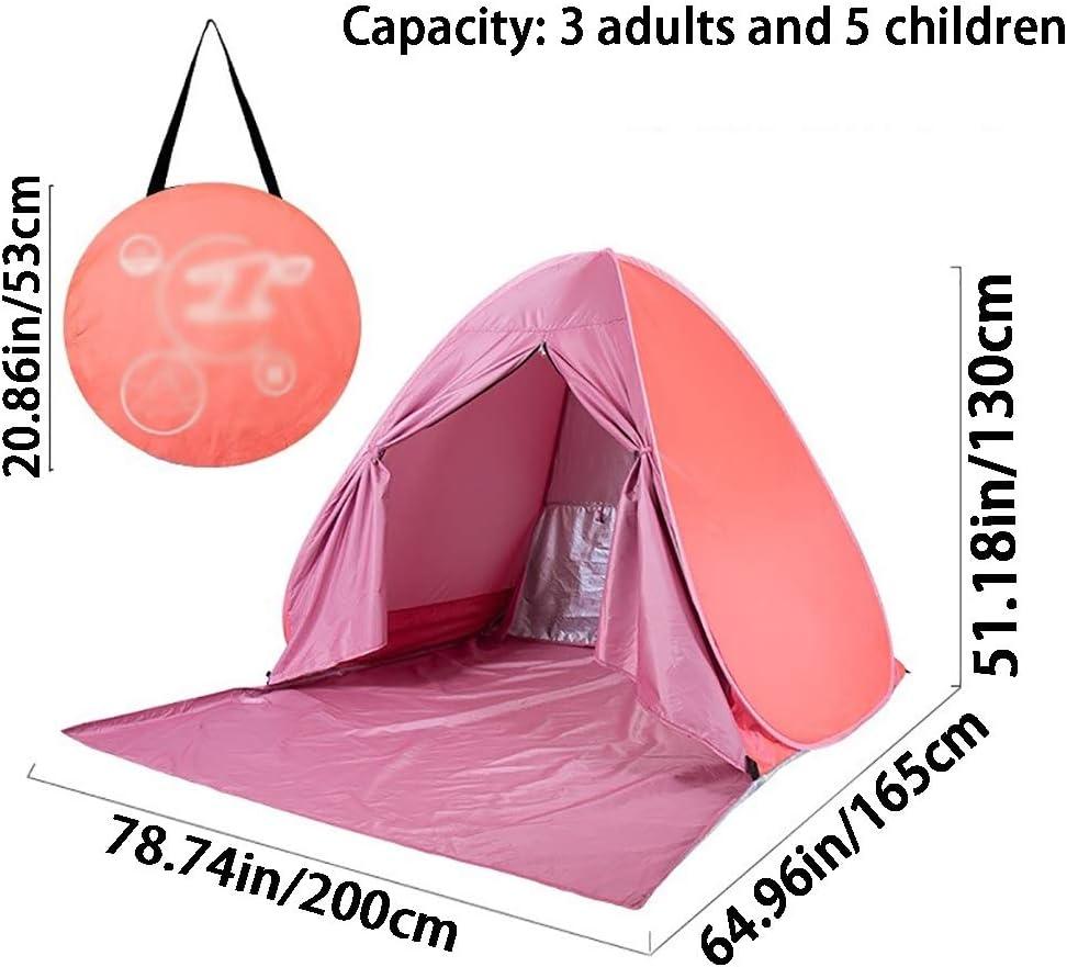 MUYUNXI Tienda de Campaña Impermeable Rosada de La Playa, Tienda de Alta Densidad de La Tela Transpirable, Puede Acomodar a 3 Adultos (Color : Pink B) Pink A