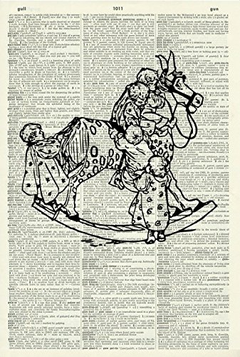 (Art Print -VICTORIAN ROCKING HORSE AND CHILDREN - Vintage Dictionary Art Print - Children's Art Print - Wall Hanging)