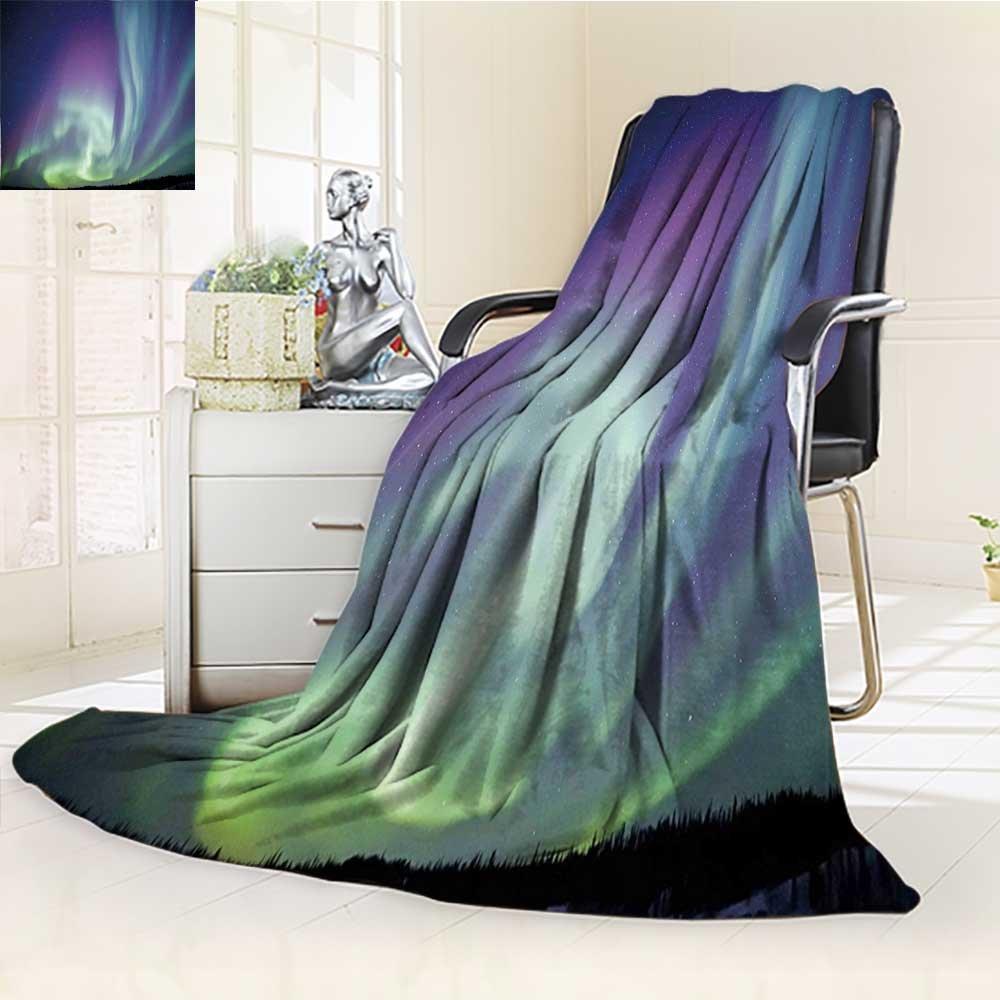 YOYI-HOME Fleece Duplex Printed Blanket 300 GSM Anti-Static Super Soft Atmosphere Solar Starry Sky Calming Night Image Mint Green Dark Blue Violet Bed Blanket Couch Blanket /W79 x H59