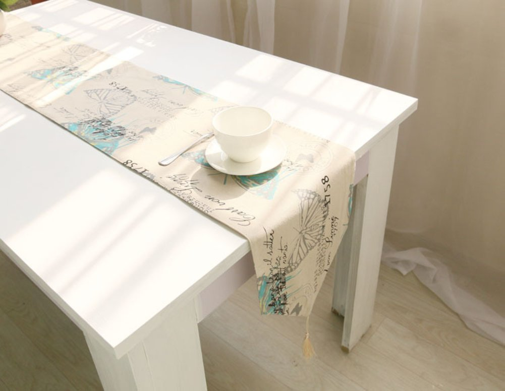 KINGDESON Retro Design Linen Cotton Blended Table Runner Kitchen Wedding Hotel Dinning Table Home Decor Butterfly 12.6''x71''