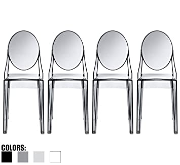 2xhome set of 6 modern ghost chair armchair with arm polycarbonate