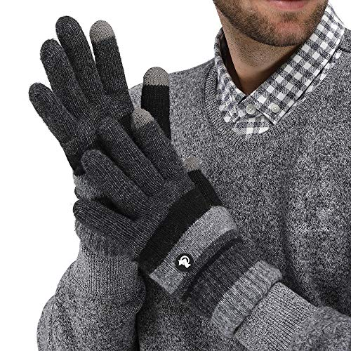 LETHMIK Mens Ox Hair Winter Gloves,Fleece Lined Thick Knit Gloves with 2 Touchscreen Fingers for SmartPhones Dark Grey