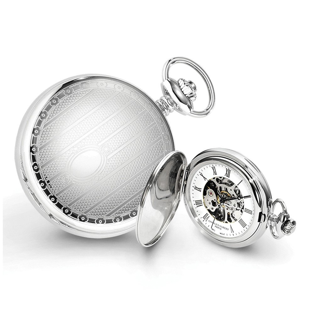 Charles-Hubert, Paris 3918 Premium Collection Stainless Steel Mechanical Pocket Watch