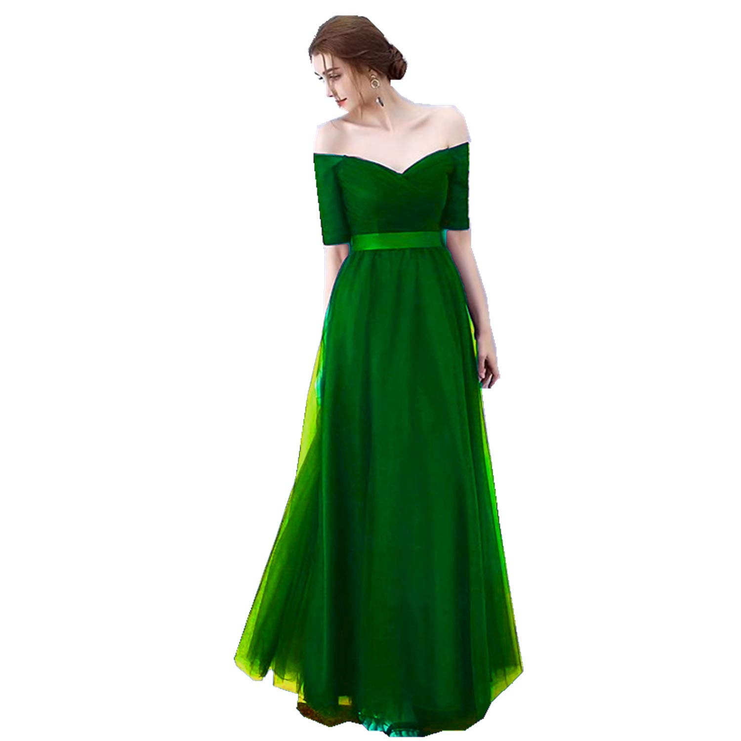 Green Ruiyuhong Women's VNeck Off The Shoulder Bridesmaid Dresses Long Tulle Wedding Party Gown