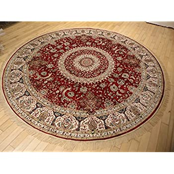 High Quality Stunning Silk Persian Area Rugs Traditional Design Red Tabriz 6x6 Round  Shape Rug Red Circle Rugs