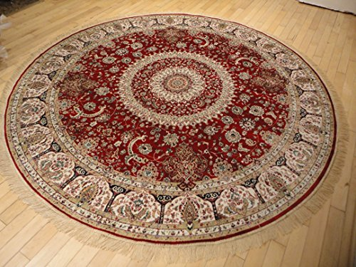 Stunning Silk Persian Area Rugs Traditional Design Red Tabriz 8x8 Round Shape Area Rugs Red Circle Rug Large Round Rugs Reds (8ft Round Shape) (Large Round Area Rugs)