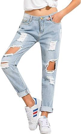 Amazon Com Sweatyrocks Jeans De Mujer Rasgados Y Desgastados Pantalones Al Tobillo Clothing