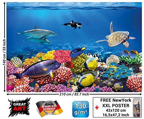 GREAT ART Wall Mural Aquarium- Walls Decoration Colourful Underwater World Poster Sea Animals Ocean Fishes Wallpaper Dolphin Coral Reef 82.7x55 Inch (The Oldest Sea Turtle In The World)