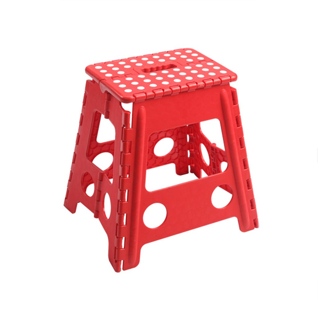 WANGXIAOLIN Thick Plastic Folding Stools Dining Table Stool (green/red/pink) (Color : Red)
