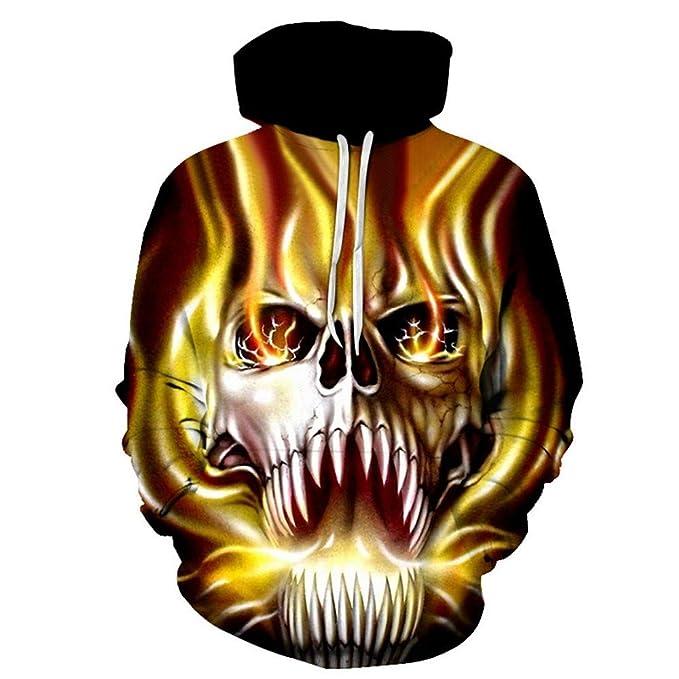 WHLWY Sudaderas con Capucha Suéter con Capucha De Impresión Digital 3D del Cráneo: Amazon.es: Ropa y accesorios