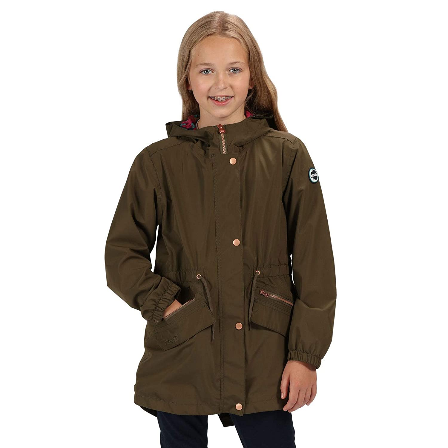 Regatta Childrens Tamora Waterproof and Breathable Fishtail Hem Hooded Outdoor Jacket