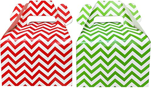 Christmas Gable Boxes - Outside the Box Papers Christmas Treat Boxes - Red and Green Chevron - Gable Favor Boxes- 24 Count