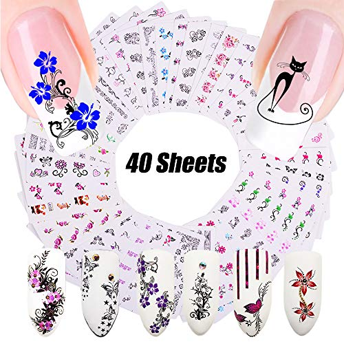 (Nail Art Decals - Nail Stickers for Women - Nail Decorations - Black Lace Water Slide Tattoo Papers - Butterfly, Flower, Cat, Long Vine - Toenail Accessories - 40 Sheets Assorted Designs - DIY Styling )