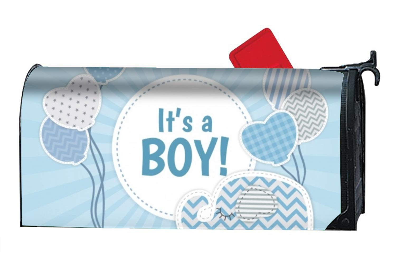 FunnyLife Cute Baby Boy Background in Flat Style Mailbox Makeover Decorative Printed Magnetic Cover for Large Mailboxes