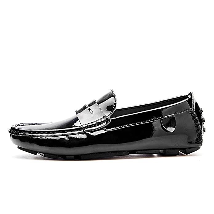 Amazon.com | Gooceo Mens Flat Loafers Driving Doug Shoes Low-top Slip-On Patent Leather | Loafers & Slip-Ons