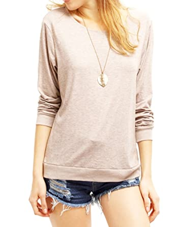 3176623de5b941 Haola Women's Long Sleeve Tops Round Neck Casual Teen Girls Tees Loose T  Shirts S Apricot