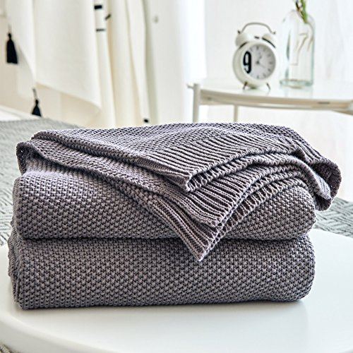 (Dark Grey Cotton Cable Knit Throw Blanket for Couch Sofa Chair Home Decorative ,Gray Color 50 x 60 Inch 2.2 pounds Come With a Washing Bag)