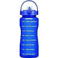 QuiFit 2L Motivational Water Bottle - with Strainer & Time Marker BPA Free 64 Oz Fruit Infuser Water Jug Leak-Proof…