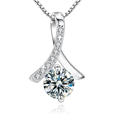 Jessibox Damen Halskette mit Anhänger aus 925 Sterling Silber, Einfach  Design mit Rund Stein, 45cm Italien Silberkette mit Schmuck Box Geschenke  für ... d54f73e18c