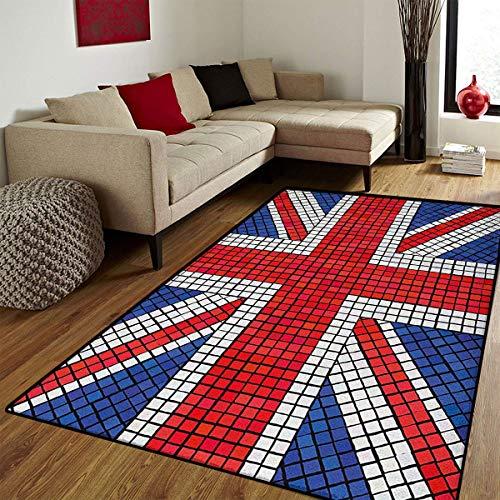 (Union Jack,Bath Mat Non Slip,Mosaic Tiles Inspired Design British Flag National Identity Culture,Bathroom Mat for tub Non Slip,Royal Blue Red White,6x9)