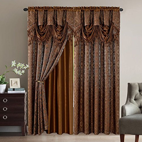(Elegant Home Window Curtain Drapes All-in-One Set with Valance & Sheer Backing & Tassels for Living Room, Bedroom, Dining Room, and Sliding Doors - Sandra (Brown))
