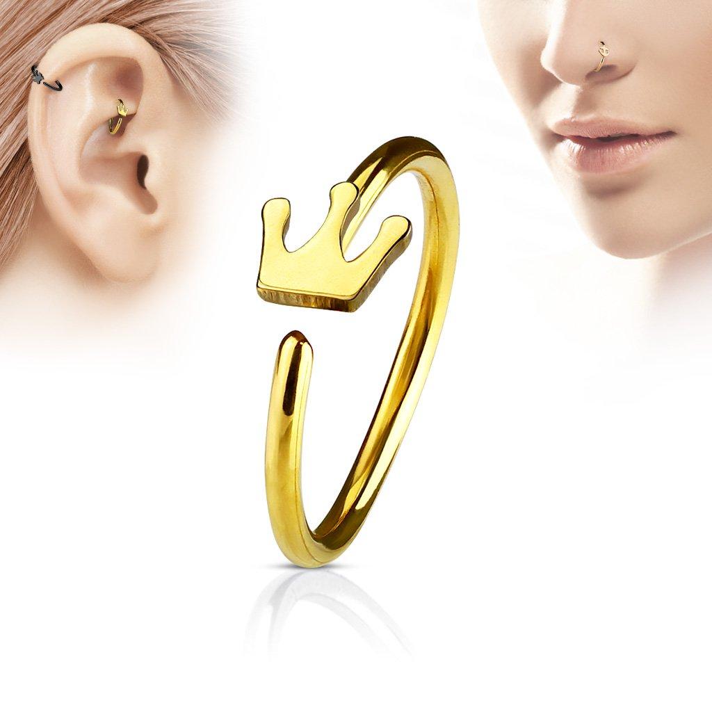 Tragus Ohr Helix Stecker Cartilage Piercing Feder Blatt 316L gold silber schwarz
