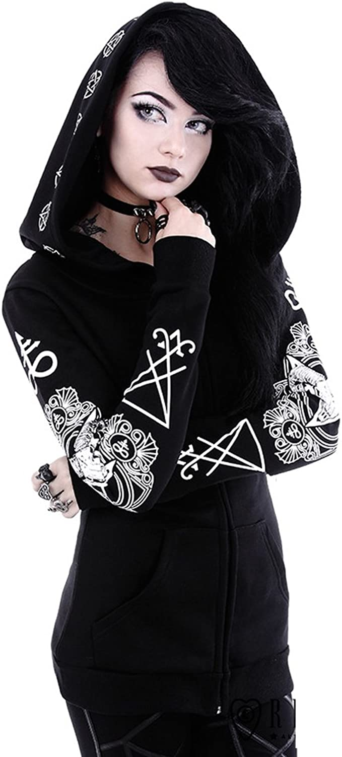 Blouse with ram Skull and Pentagram Prints Restyle Clothing Ritual Hoodie