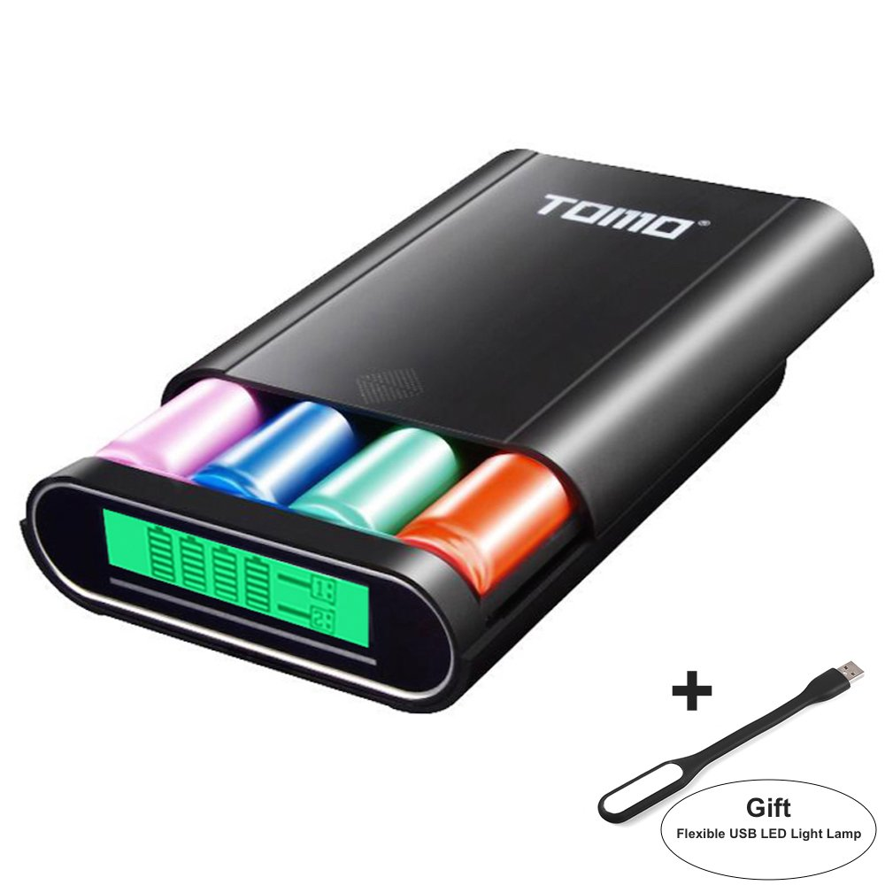 Authentic TOMO M4 3-in-1 External Power Bank 18650 Battery Charger Box 2-USB Ports DIY Power Bank Box with LCD Display+ Flexible USB LED Light Lamp