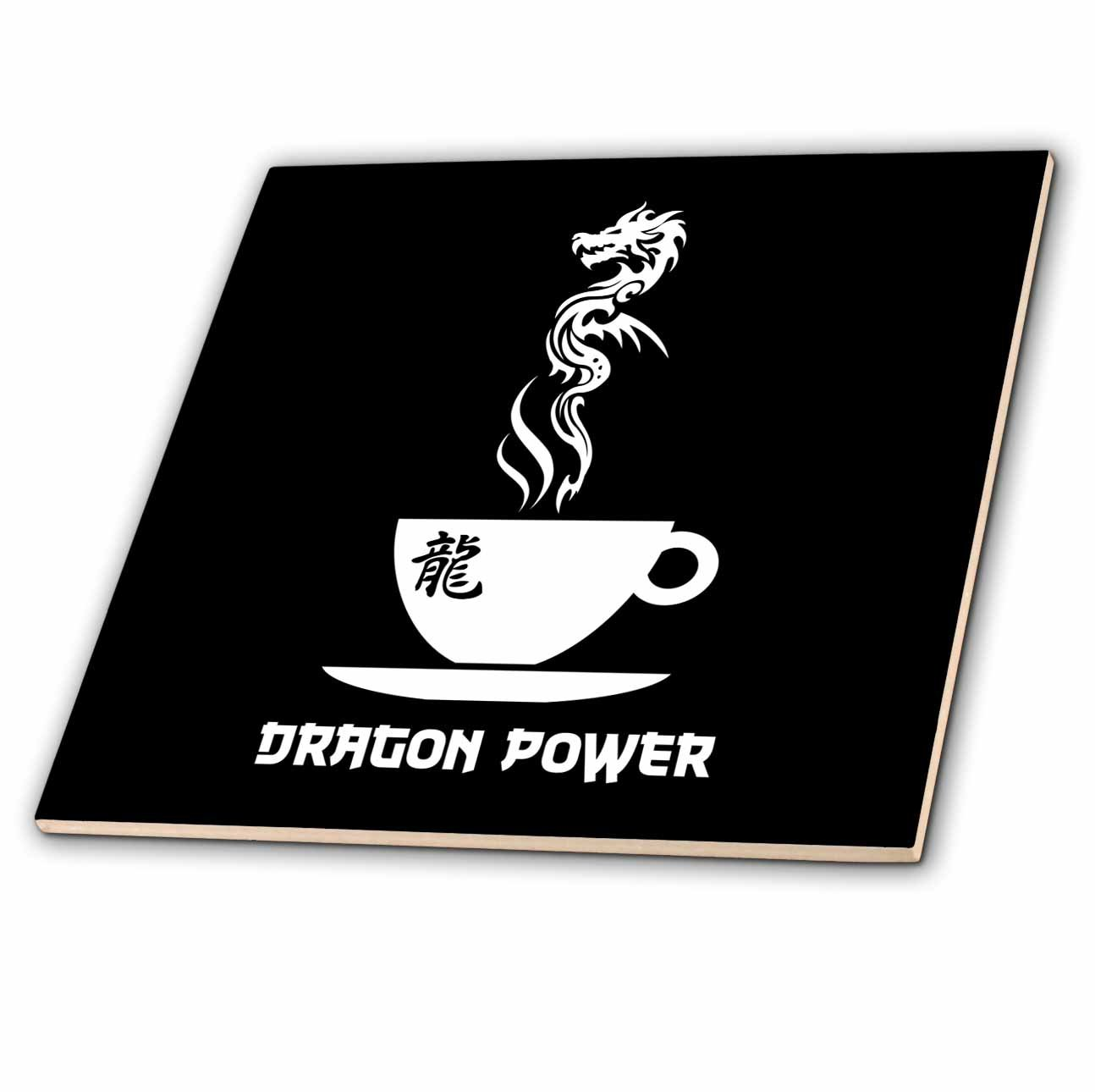 3dRose Alexis Design - Coffee - Dragon power cup of coffee on black background - 6 Inch Ceramic Tile (ct_272412_2)