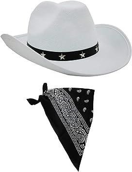 BLACK COWBOY HAT AND PAISLEY BANDANA WILD WEST FANCY DRESS COSTUME ACCESSORY SET