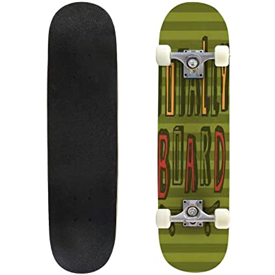 Classic Concave Skateboard Skateboard Print Design on Stripped Background Longboard Maple Deck Extreme Sports and Outdoors Double Kick Trick for Beginners and Professionals : Sports & Outdoors