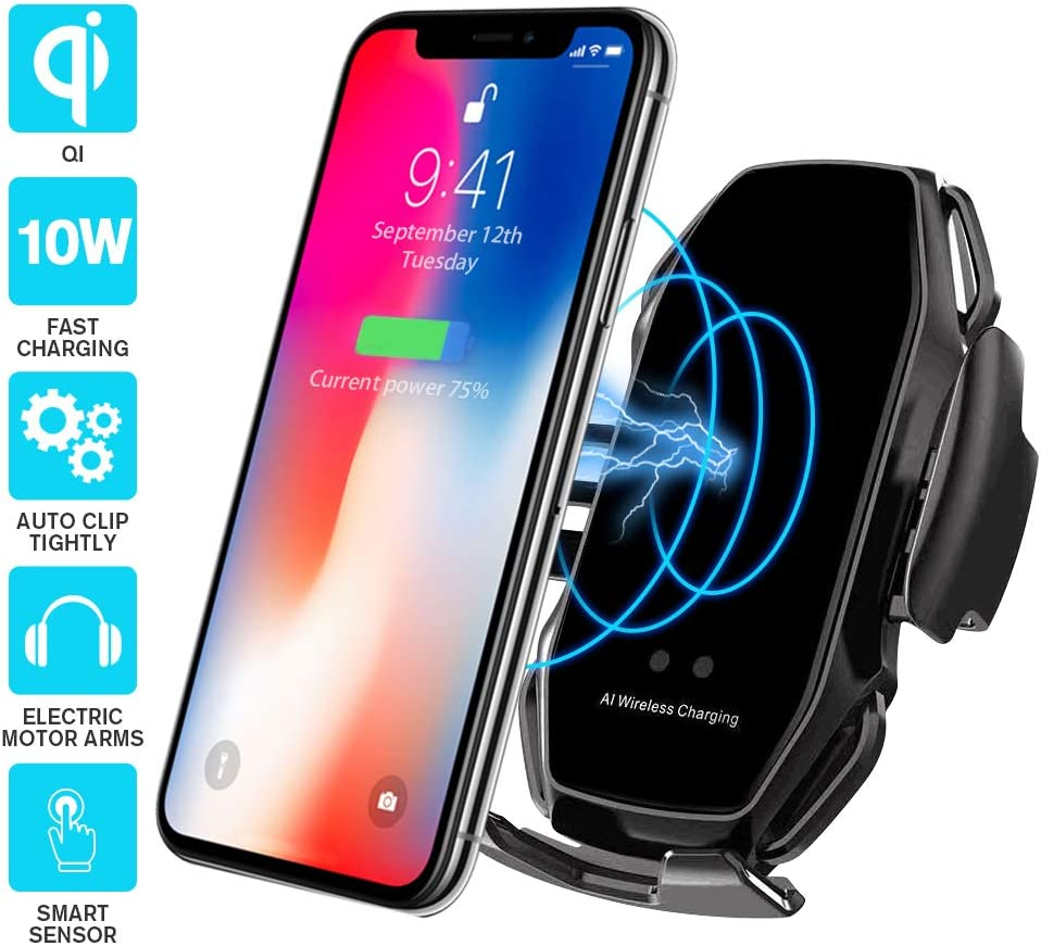 Black Wireless car Charger,EERIE A5 Smart Sensor Wireless Car Charger Mount,QI 10W Automatic Clamping Fast Charging Holder Compatible with iPhone 11//Xs//Xs Max//XR//X//8//8 Plus,Samsung Note 9//S9//S9+//S8