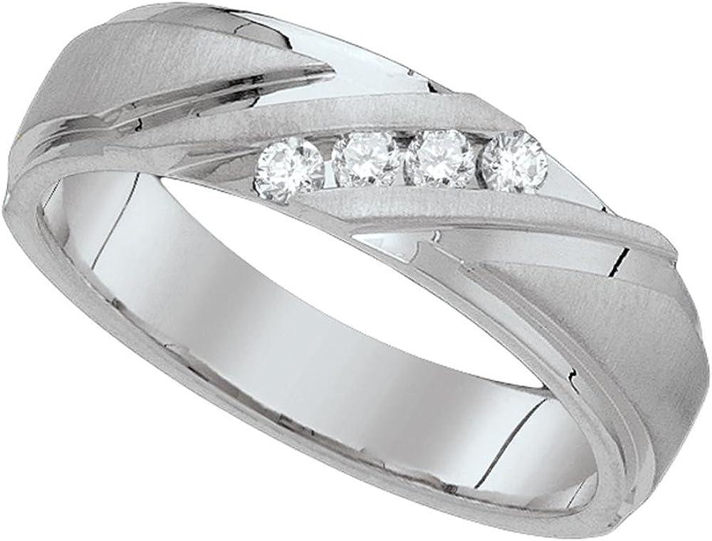 Jewels By Lux Anillo de Diamantes de Oro Blanco de 10k para Hombre ...