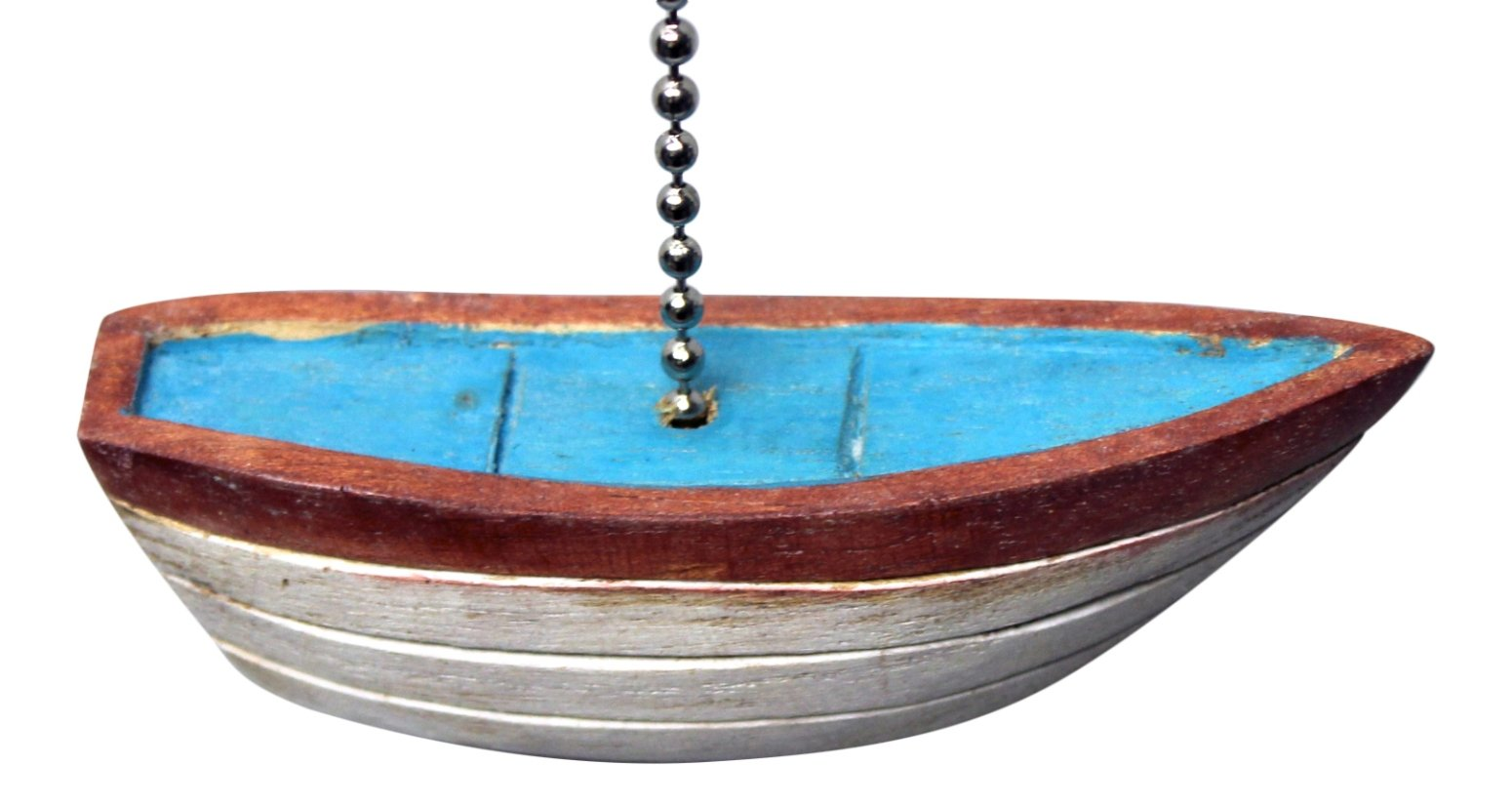 Blue and White Row Boat Hand Carved Wood Ceiling Fan Light Pull