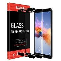 MASCHERI [2 Pezzi] Pellicola Huawei honor 7X [Copertura Completa] [Anti-graffio] [Garanzia a vita] Vetro Temperato per Honor 7X -Nero