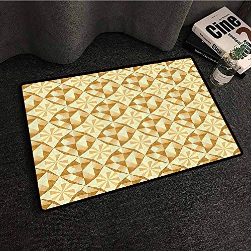Beige Decor Collection Outdoor Doormat Linked Unusual Patterns in Antique Style Retro Geometric Avant Garde Bohemian Home Non-Slip Door mat pad Machine can be Washed W31 xL47 Brown Beige Yellow
